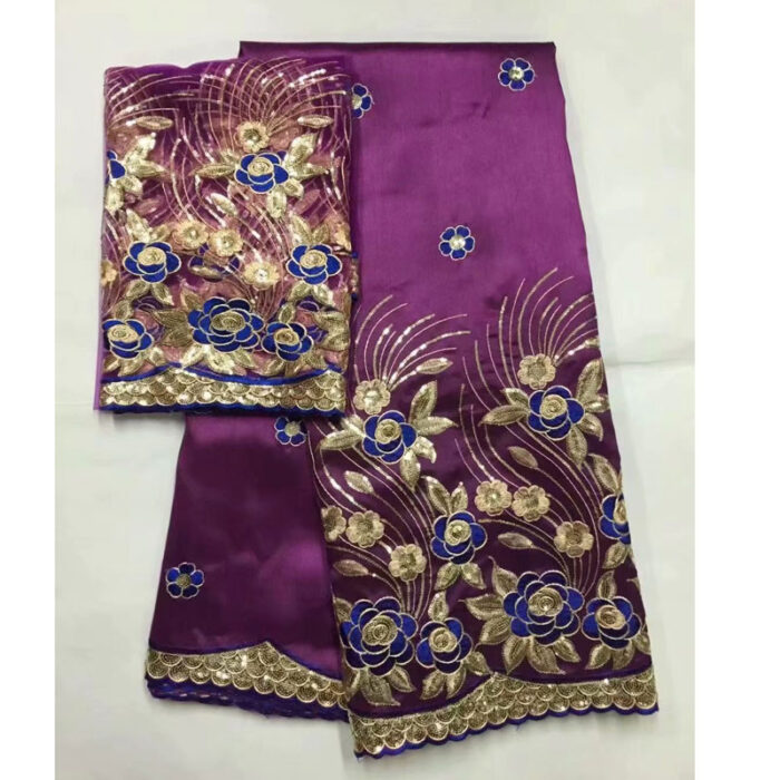 george Lace Fabric With Blouse And Stones India Purple Wedding Sequins Laces