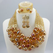African Nigerian Wedding Jewelry Sets Wine Seed Bead Pendant Statement Necklace Set Bride