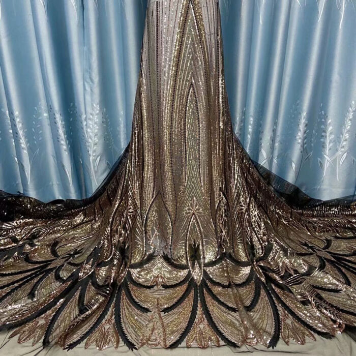 high quality sequins lace fabric for wedding dress