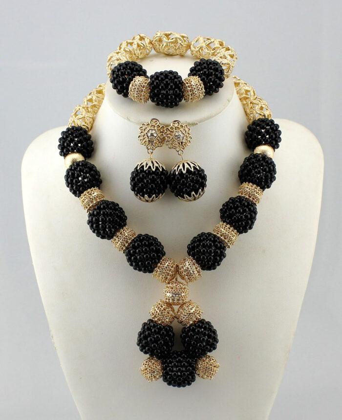 frican Nigerian Wedding Jewelry Sets Wine Seed Bead Pendant Statement Necklace Set Bride