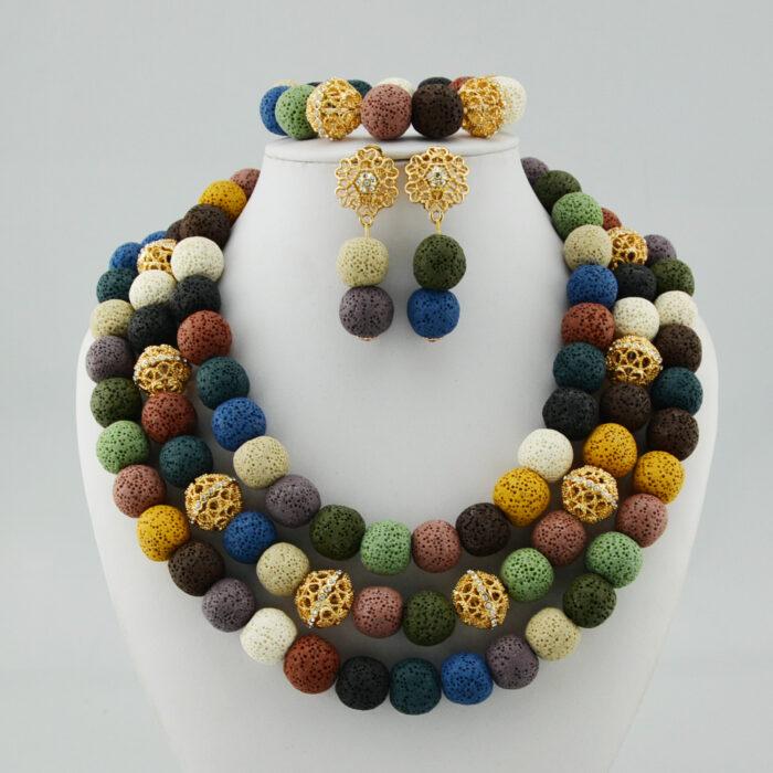 african Nigerian Wedding Jewelry Sets Wine Seed Bead Pendant Statement Necklace Set Bride