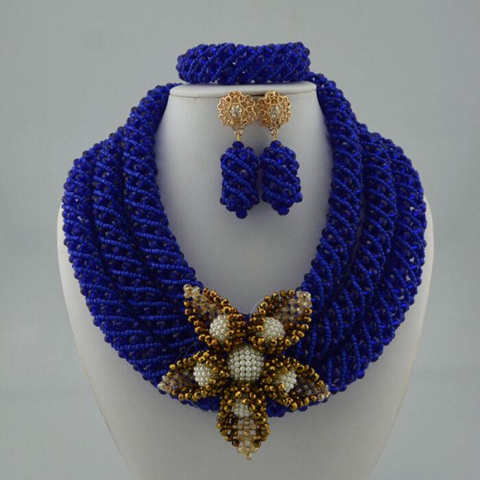 Nigerian Wedding Jewelry Sets Wine Seed Bead Pendant Statement Necklace Set Bride