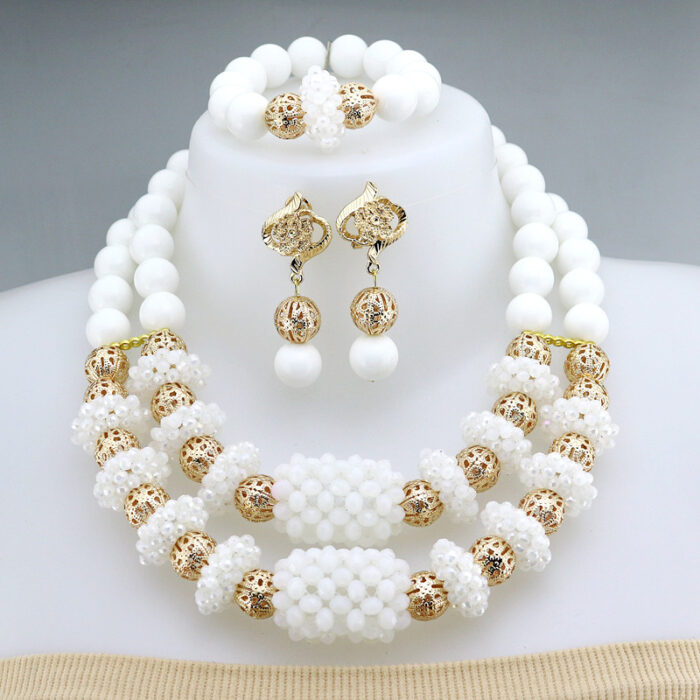 Fashion African Handmade Beads Layer Jewelry Sets Women Summer Winter Choker Necklace Earrings Female Mother Party Gift