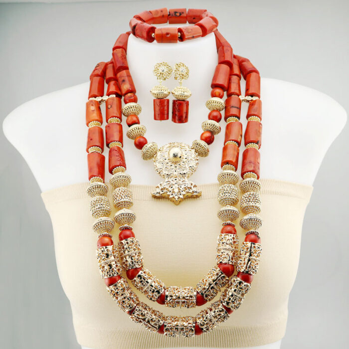 Coral Beads Statement Necklace Set Chunky Bib Beads African Jewelry Fashion Real Coral Necklace Set Dubai