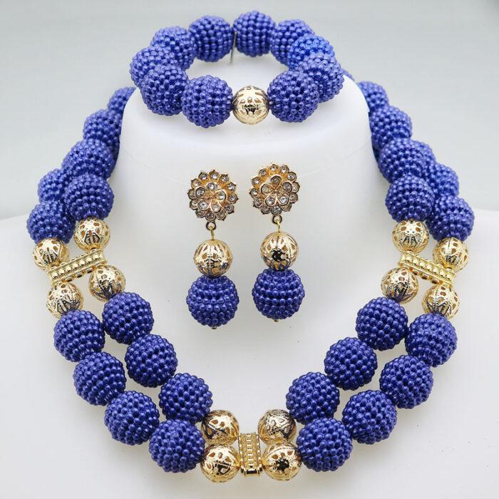 Nigerian Wedding African Beads Jewelry Set