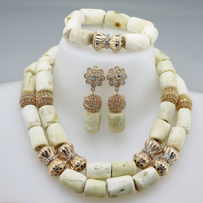 Fashion Nigerian Coral Beads Necklace Earrings Set for Bridemaid