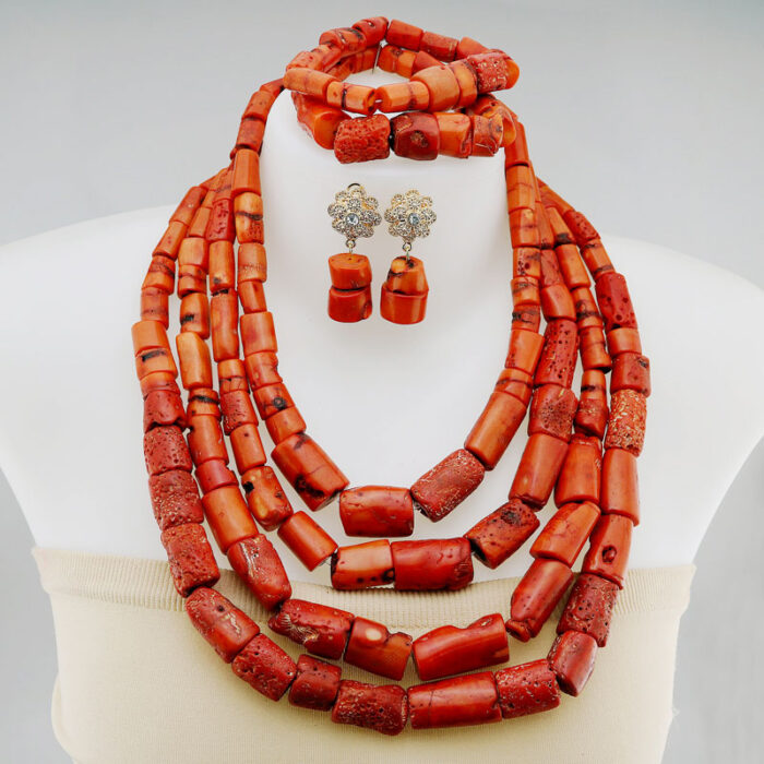 Fashion Nigerian Coral Beads Necklace Earrings Set for Bride