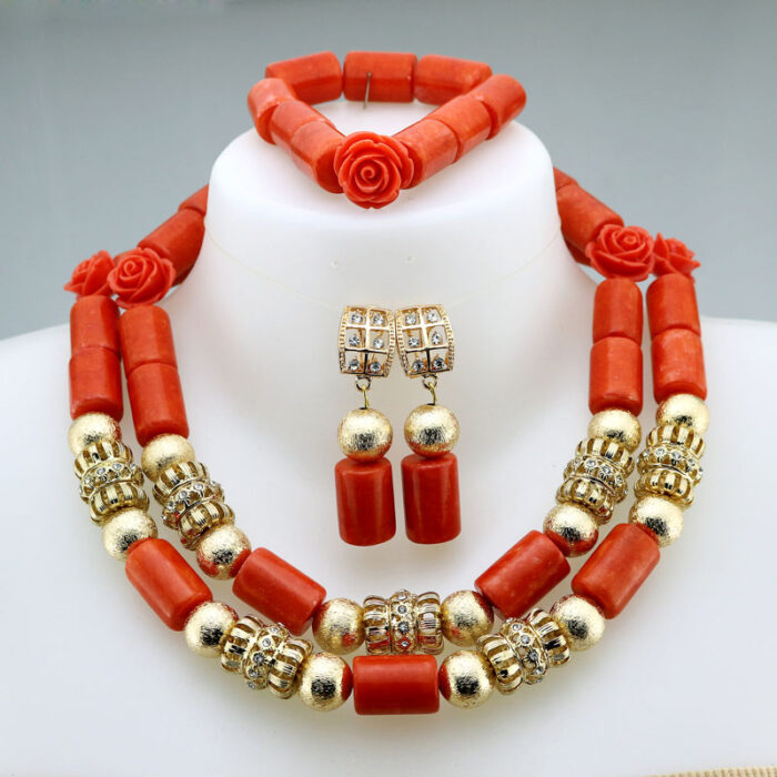 Nigerian Coral Beads Necklace Earrings Set for Bride New African Wedding Jewelry Set Free Shipping