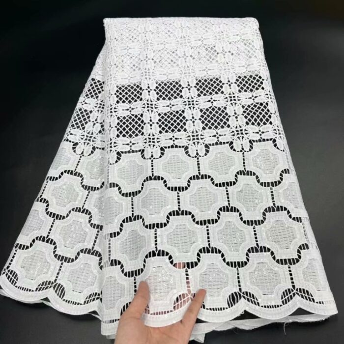 african cord lace fabric in white color with sequins embroidery