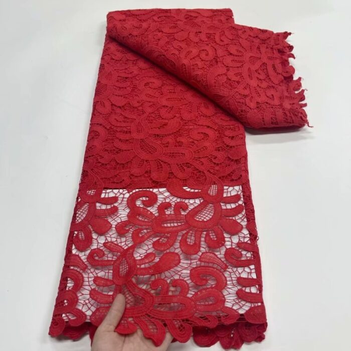 African Cord Lace Fabric with Water Soluble