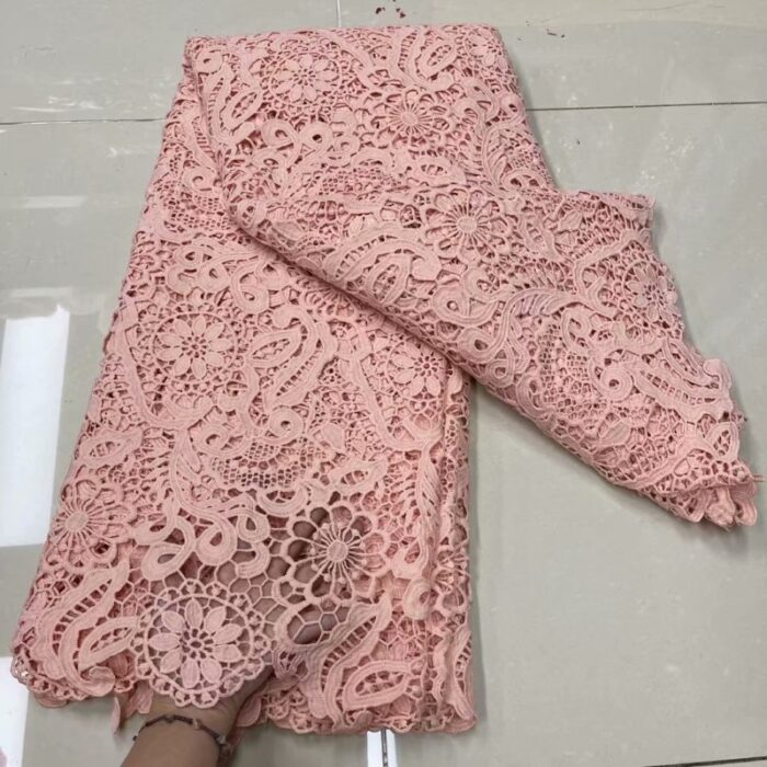 Nigerian Water Soluble Cord Lace Fabric in Cord Lace Fabric 5 yards