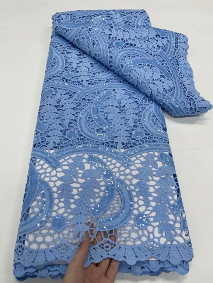 African cord lace fabric with sequins 5 yards in WS1082